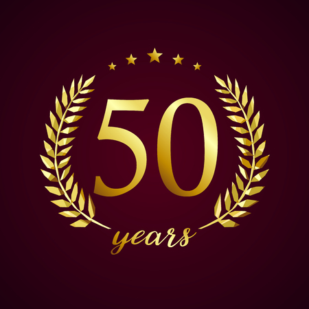 50 years old luxury logotype. Congratulating 50th, 5th numbers in circle of palms, cup template. Isolated sign greetings symbol, celebrating traditional stained-glass decorative retro style ear. Illusztráció