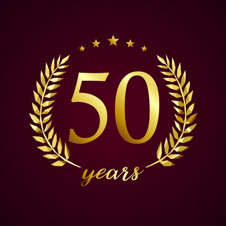 Luksusowy logotyp sprzed 50 lat. Gratulując 50, 5 cyfry w kręgu dłoni, szablon filiżanki. Na białym tle znak pozdrowienia symbol, świętuje tradycyjne witraże ozdobne ucho w stylu retro.
