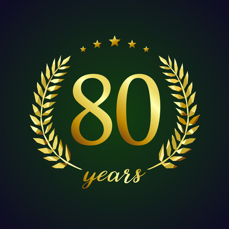 80th: 80 years old luxurious logotype. Congratulating 80th. Illustration