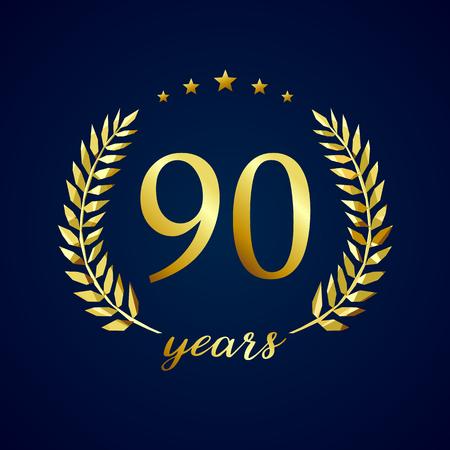 90 years old luxury logotype. Congratulating 90th.