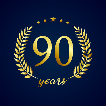 90 years old luxury logotype. Congratulating 90th.
