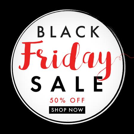 Black friday sale label banner. Black Friday sale, round banner on black background. Special offer, 50% off shop now. Vector illustration Illustration
