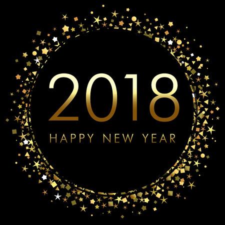 2018 新しい年ゴールド キラキラ紙吹雪デザイン テンプレートで黒の背景に。  イラスト・ベクター素材