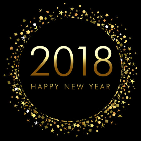 2018 New Year on black backdrop with gold glitter confetti design template.