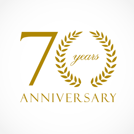 70 years old luxury logotype. Congratulating 70th, letter O as circle of palms tree, cup template. Celebrating traditional decorative retro style ear.