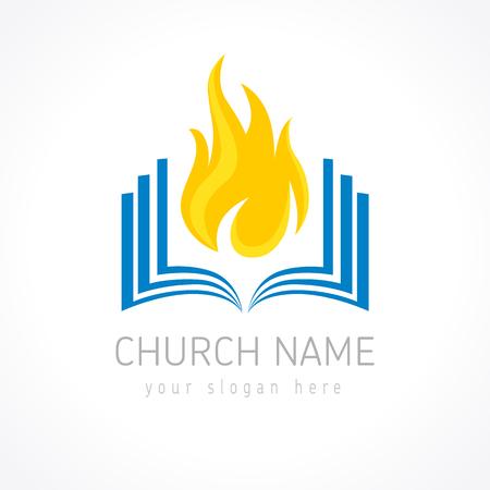 Logotipo di vettore educativo. Logo del libro fiammeggiante ardente. Apri le pagine con le fiamme. Identità di apprendimento, insegnamento o religione di pentecoste. La conoscenza è potere, modello di QI. E-book, idea di e-reader iq.