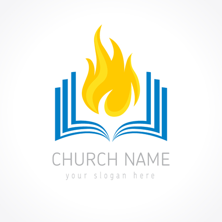 Educational vector logotype. Fiery flaming book logo. Open pages with flames. Learning, teaching or religious pentecost branding identity. Knowledge is power, IQ template. E-book, e-reader iq idea. Illustration