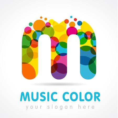 Buchstabe M-Symbol. Getrenntes abstraktes Emblem. Buntglasfarbe, grafische Vorlage. Wolken und Blasen mit bunten Haufen. Standard-Bild - 88962845