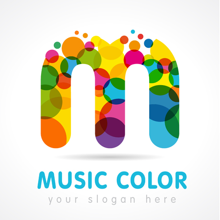 Letter M icon. Isolated abstract emblem. Stained glass color, graphic template. Clouds and bubbles with multicolored bunch. Illustration