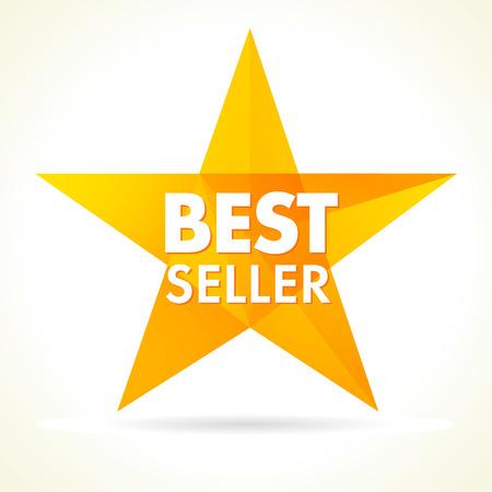 Bestseller award star logo. Stained glass vector illustration. Celebrating congratulating greetings. Illustration