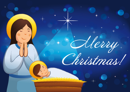 merry christmas a happy new year religious greetings celebrating and congratulating mother mary - Religious Merry Christmas