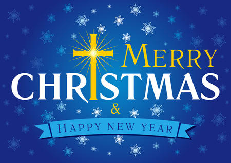 Merry Christmas, A Happy New Year greetings. Celebrating, congratulating, decorative, traditional, blue card with inscription, golden shining, lighting, cross, lights, ribbon, snowflakes, ornaments, wishes.