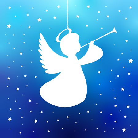 Flying angel with trumpet on a navy blue background. White isolated angel with trumpet starry silhouette, Merry Christmas card. Vector illustration Illustration