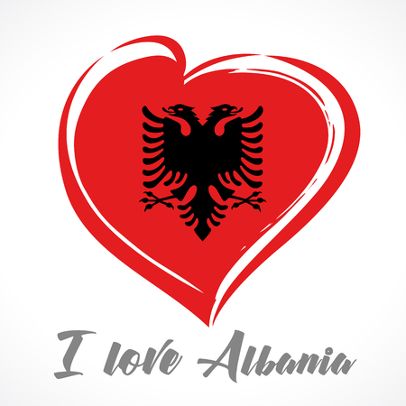 Love Albania flag emblem colored. Independence day of Albania banner with vector curving red heart and flag Illustration