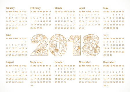 2018 office calendar for whole year with ethnics background and art elements. Luxurious decorating traditional numbers, isolated schedule A4 210X297 mock up. Elegant celebrating decorative graphic.