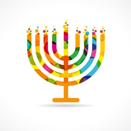 Emblema della menorah di Hanukkah colorato. Cartolina d'auguri ebrea di Hanukkah della cartolina d'auguri modello tradizionale delle candele di menorah di simbolo di Chanukah che abbassa il modello delle luci. Modello vettoriale