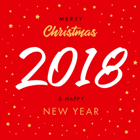 Colored number 2018 happy new year design template greeting card merry christmas calligraphy 2018 and happy new year red greeting card m4hsunfo
