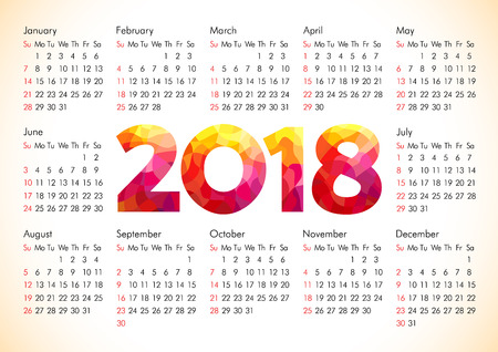 2018 office calendar for whole year with stained glass flamed elements. Celebrating congratulating numbers, isolated schedule A4 210X297 mock up. Flaming red colored greetings with 3D volume flames.