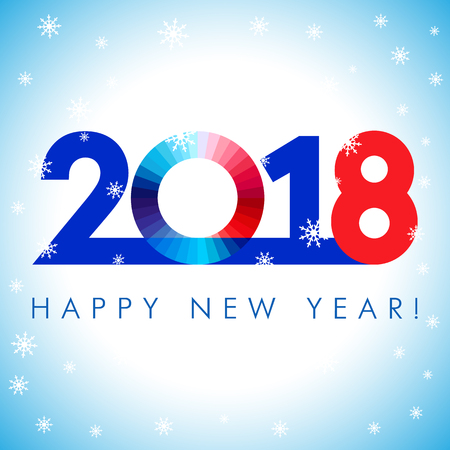 2018 A Happy New Year greetings. Blue, red and white numbers, isolated 0 symbol. Congratulating celebrating colored minimal winter image with set of snowflakes, square background.