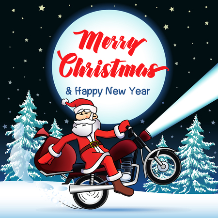 Santa biker Merry Christmas and Happy New Year greeting card. Happy Christmas text, vector Santa Claus on a motorcycle, stars and moon on background