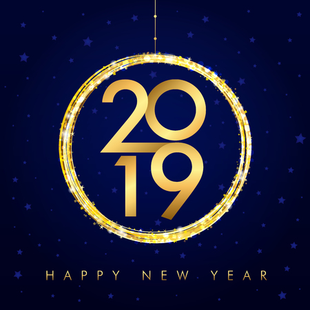 Happy New Year background with golden ball and glitter. Gold number 2019 and text Happy New Year, vector design template. Illustration