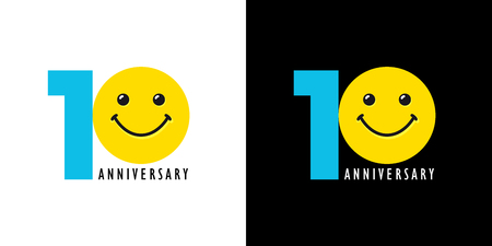 10 years old smiling logo. Congratulating celebrating 10th, 1st numbers, logotype with emotions. Isolated humorous colored greetings on black and white background.