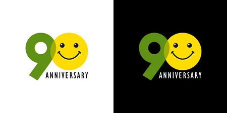 90 years old smiling anniversary icon. Congratulating celebrating 90th, 9th numbers, logotype with emotions. Isolated humorous colored greetings on black and white background. Illustration