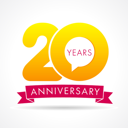 20 years anniversary communication logo. 20th year birthday logotype label, yellow vector number sign and pink ribbon isolated