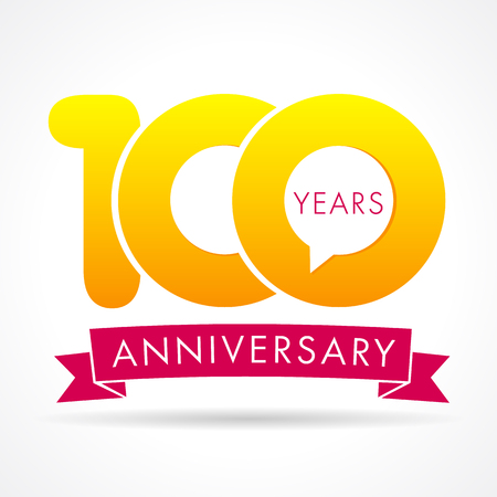 100 years anniversary communication logo. 100th year birthday logotype label, yellow vector number sign and pink ribbon isolated.