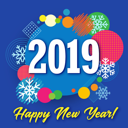 2019 happy new year creative banner colored circle and snow vector happy new year