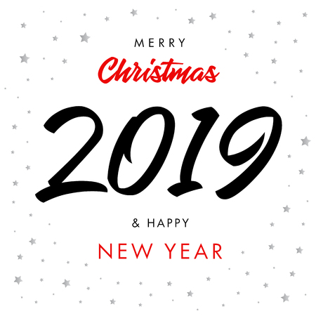 Merry Christmas And Happy New Year 2019 Banner. Royalty Free ...