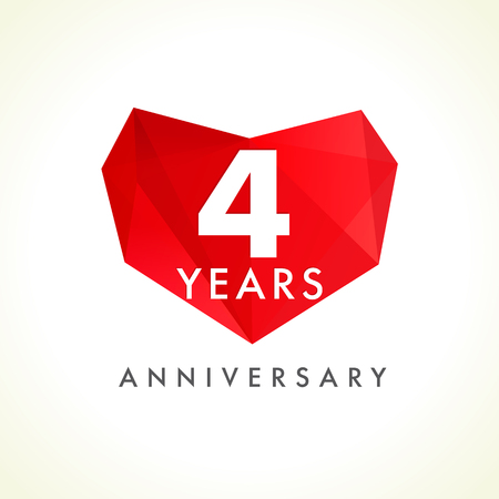 4 years anniversary heart logo. Template emblem of 4th anniversary celebration in facet heart shape. Vector illustration.