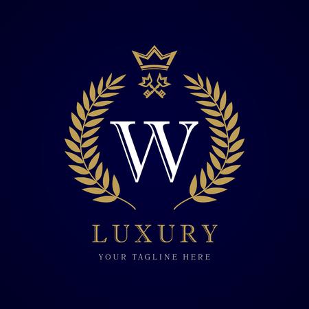 Luxury calligraphic letter W crown and key monogram logo. Vettoriali