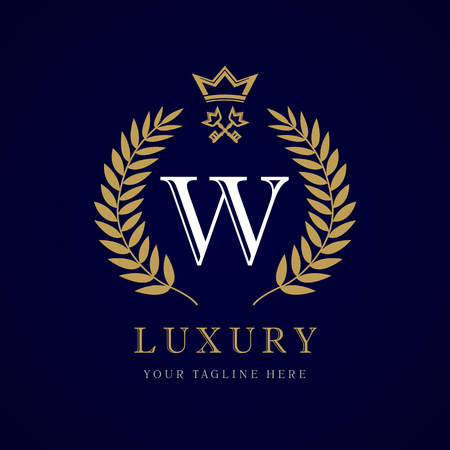 Luxury calligraphic letter W crown and key monogram logo. 向量圖像