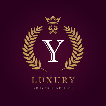 Luxury calligraphic letter. Laurel elegant beautiful round with crown and key. Vector letter emblem Y for Royalty, Restaurant, Boutique, Hotel, Heraldic, Jewelry