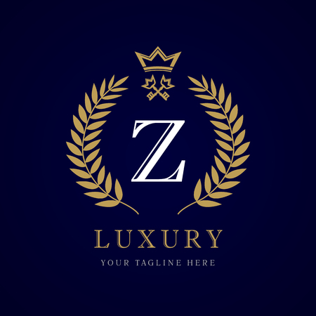 Luxury calligraphic letter Z crown and key monogram logo. Laurel elegant beautiful round with crown and key. Vector letter emblem Z for Royalty, Restaurant, Boutique, Hotel, Heraldic, Jewelry