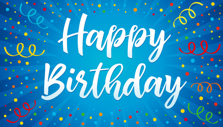 Happy birthday lettering with colorful confetti and ribbons vector illustration Vettoriali