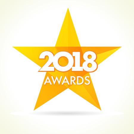Award winner logo. Golden label vector facet star award 2018 on white background