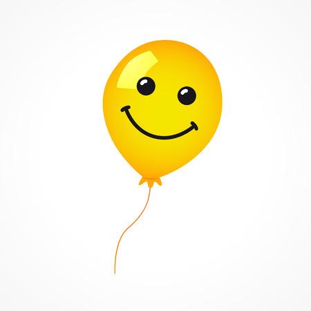 Smiling of yellow balloon on white background. Vector emoticon emoji flat smile in the yellow helium balloon. Illustration
