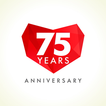 Anniversary 75 years old celebrating logotype with hearts.