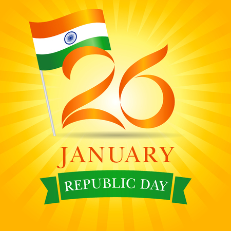 26 January, Happy Republic Day Idia greeting card. Vector illustration for 26th january Republic Day Idia lettering banner with national flag and text on yellow stripes background Illustration