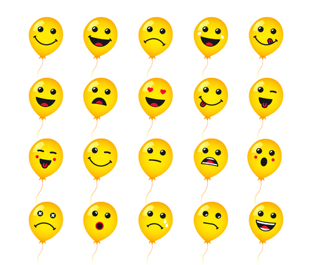 Set of round emoticons or emoji icon on yellow helium balloons. Smile of yellow helium balloon icons vector illustration isolated on white background. Concept for World Smile Day card or banner Illustration