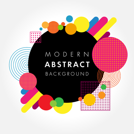 Abstract black circle geometric colored futuristic design. Modern applicable for placard, brochure, poster, cover, presentation, report and banner. Vector illustration Illustration
