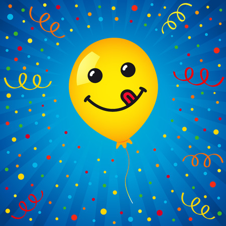 Smiling of yellow balloon and colored confetti on blue background. Vector emoticon emoji flat smile in the yellow helium balloon for greeting card and birthday celebration Illustration