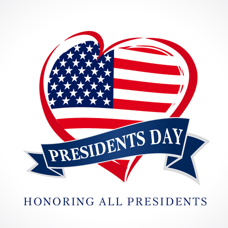 Presidents day USA heart emblem flag colored. Calligraphic composition of Happy Presidents. Vector illustration. Illustration