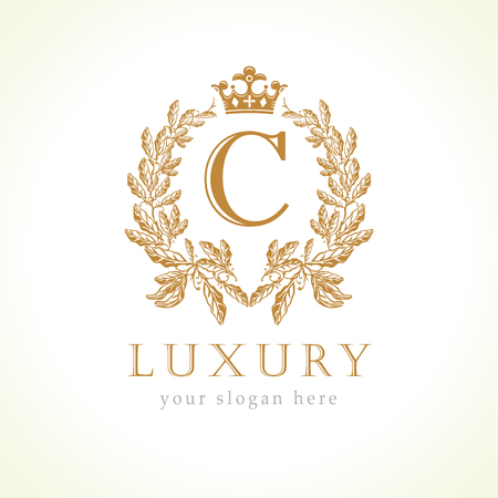 Luxury C letter and crown monogram logo. Laurel elegant beautiful round with crown and wreath. Vector letter emblem C for Antique, Restaurant, Cafe, Boutique, Hotel, Heraldic, Jewelry