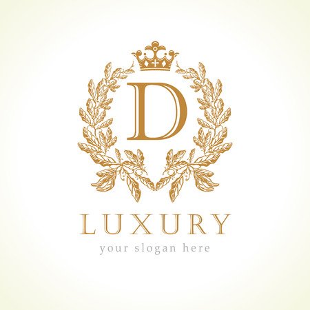 Luksusowe logo monogram litery D i korony. Laurel elegancki piękny okrągły z koroną i wieńcem. Wektor godło litery D dla antyków, restauracji, kawiarni, butików, hoteli, heraldycznych, biżuterii