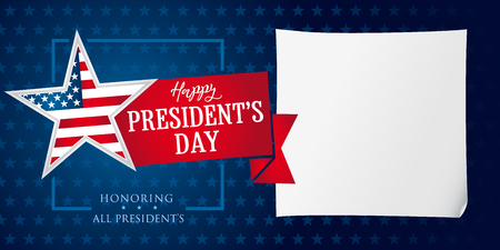 Happy Presidents day star and ribbon banner template. Happy President`s Day greeting card for web banner vector illustration Stock Vector - 94611781