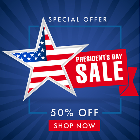Presidents day sale, blue stripes banner. Happy Presidents Day sale Illustration