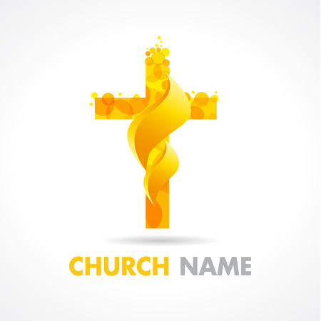 Church logotype. Religious traditional isolated rescue crucifixion template. Pentecost Sunday vector greetings. Fiery flaming shining burning glowing celebrating sign. He is risen celebrate symbol.